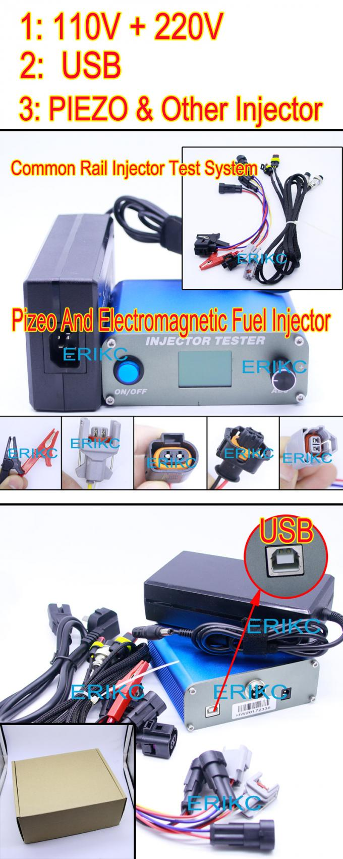 ERIKC test machine diesel common rail injector oil pressure testing equipment CR Bosch injector measuring tools