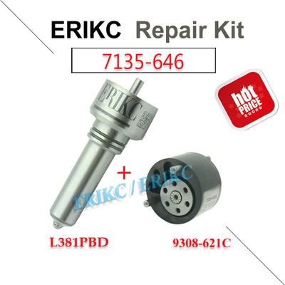 China ERIKC 7135-646 delphi injector repair kit nozzle L381PBD valve 9308-621C diesel injection parts for EJBR05102D DACIA supplier