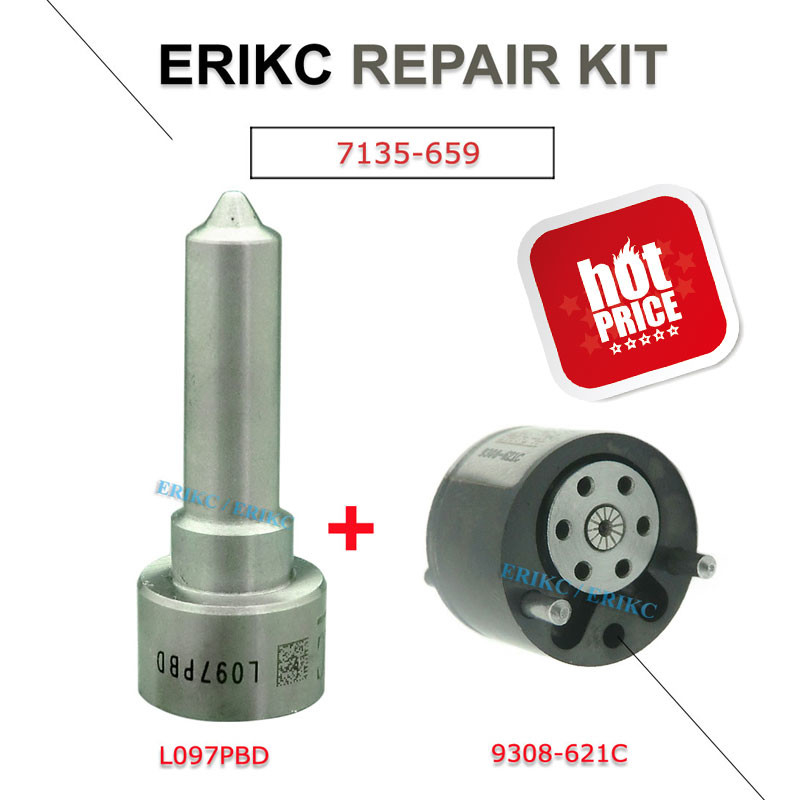 ERIKC 7135-659 diesel engien injector control valve 9308-621C nozzle L097PBD repair kit DSLA 150 FL 097 and 9308 621C